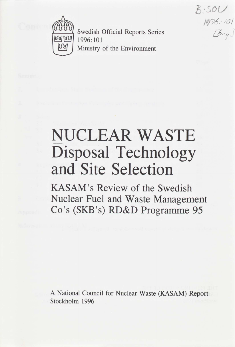 Nuclear waste - disposal technology and site selection