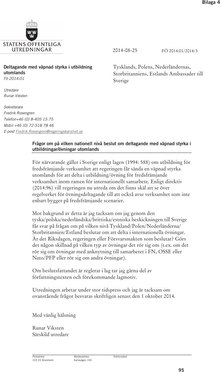 Sverige deltar i pfp ovningar